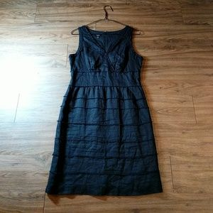 Talbots Black Linen Fitted Cocktail Dress